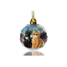 Hand Sculptured and Painted Christmas Cat Ornament