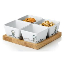 Wooden Board and Porcelain Bowls Poul Pava Be Friends 5 Piece Set