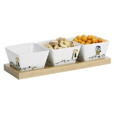 Wooden Board and Porcelain Bowls Poul Pava Be Friends 4 Piece Set
