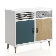 White Wooden 2 Drawer 2 Door Cabinet