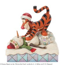 Tigger pouncing on Snowman Figurine