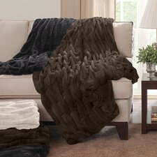 Ruched Fur Throw Blanket