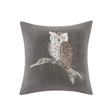 Owl Embroidered Suede Throw Pillow