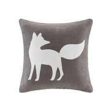 Fox Embroidered Suede Throw Pillow