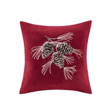 Pine Cone Embroidered Suede Throw Pillow