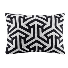 Geometric Crewel Embroidered Oblong Cotton Lumbar Pillow