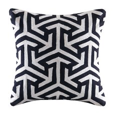 Geometric Crewel Embroidered Square Cotton Throw Pillow