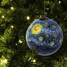 Starry Night Hand Painted Glass Ornament