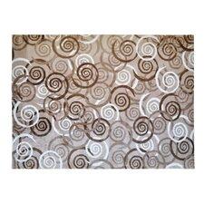 Teppich LifeStyle-Mat Spiralen in Braun/ Beige/ Weiß