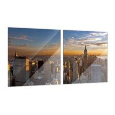 New York 2-Piece Glass Art Set