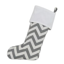 Zig Zag Lined Trimmed Christmas Stocking