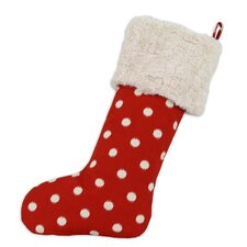 Ikat Dot Lined Trimmed Christmas Stocking