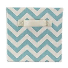 Zig Zag Village Blue Storage Bin with Handle