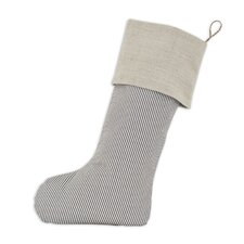 Oxford Linen Natural Band Christmas Stocking