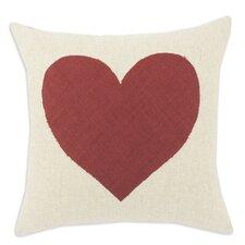 Linen Natural Heart Throw Pillow