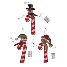 Christmas Snowman 3 Piece Candy Cane Hanging Christmas Gift Set