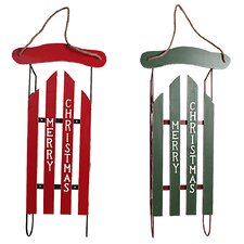 "Holiday ""Merry Christmas"" Large Decorative Sleigh (Set of 2)"