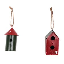 Christmas Holiday 2 Piece Hand Painted Birdhouse Ornament Set
