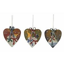 Snowman 3 Piece Painted Heart Ornament Set