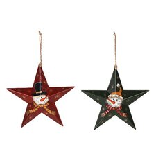 2 Piece Barn Star with Painted Snowman Set
