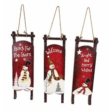 Snowman Christmas 3 Piece Hand Painted Sleigh Set