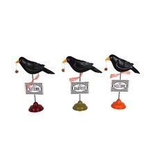 3 Piece Goofy Black Bird Harvest Decor Figurine Set