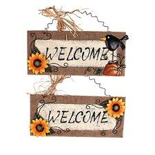 2 Piece Wood/Linen Sunflower Welcome Sign Wall Décor Set