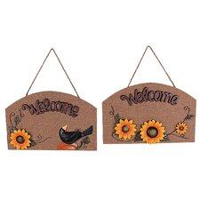 2 Piece Wooden/Linen Sunflower Plaque Wall Décor Set