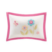 Spring Bloom Plush Floral Applique and Embroidered Throw Pillow