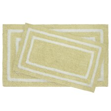 2 Piece Reversible Cotton Plush Double Border Bath Mat Set