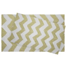 Zigzag 2 Piece Reversible Cotton Plush Bath Mat Set