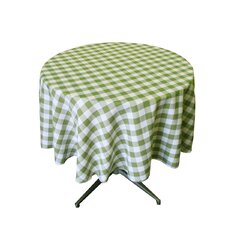 Polyester Gingham Checkered Round Tablecloth