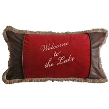 Sagamore Lake Plake Welcome to The Lake  Lumbar Pillow