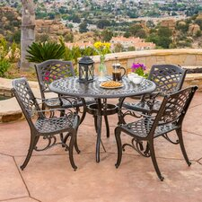Harrelson 5 Piece Cast Aluminum Dining Set