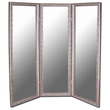 Antique Silver 3 Paneled Mirror