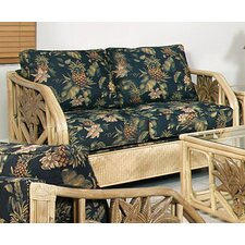 Cypress Upholstered Rattan Loveseat in Natural Finish