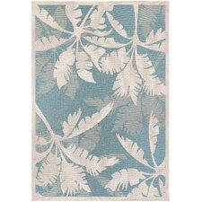 Cao Coastal Flora Ivory/Turquoise Indoor/Outdoor Area Rug