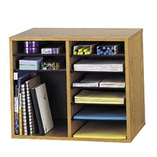 Wood Adjustable-Compartment Desktop Literature Organizer