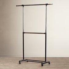Adjustable Chrome/Black Two Rod Garment Rack