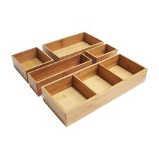 Bamboo 5 Piece Drawer Organizer Box Set