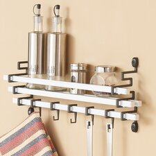 Metal Wall Mount Spice Rack with Kitchen Utensil Hanging Hook