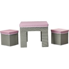 Selina Kids 3 Pieces Square Table and Stool Set