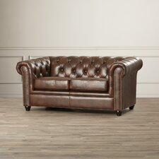 Curley Hand Rubbed Top Grain Leather Loveseat