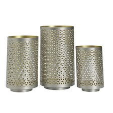 3 Piece Lace Metal Luminary Set
