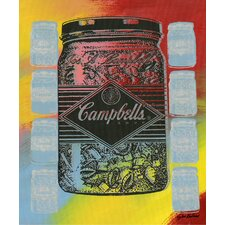 ''Campbell's Soup Jars'' by Steve Kaufman Vintage Advertisement on Wrapped Canvas