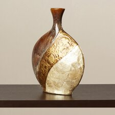 Brahim Pot-Shaped Ceramic/Capiz Shell Vase in Brown/Black