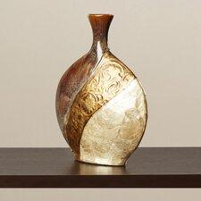 Brahim Pot-Shaped Ceramic/Capiz Shell Vase in Brown/Black