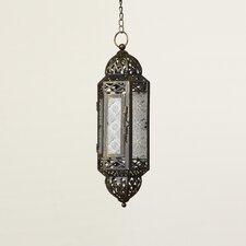 Hanging Glass and Metal Lantern in Dark Brown