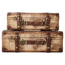 Prem Old World Map Leather Vintage Style 2 Piece Trunk Set