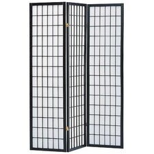 "Koury 70"" x 52"" 3 Panel Room Divider with Rice Paper Paneling"